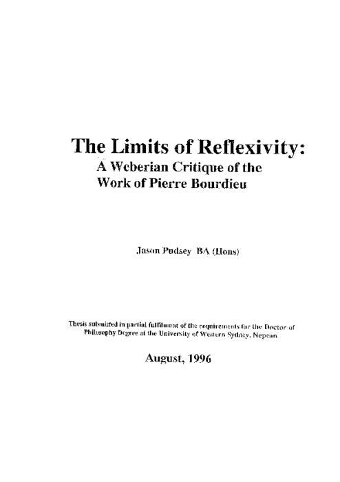 The limits of reflexivity: a Weberian critique of the work