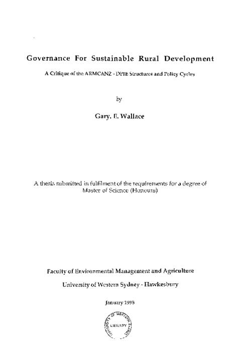 Governance for sustainable rural development : a critique of