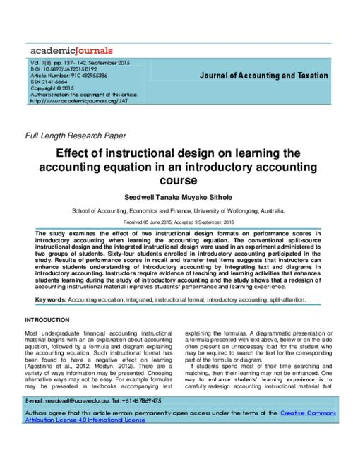 Effect Of Instructional Design On Learning The Accounting Equation
