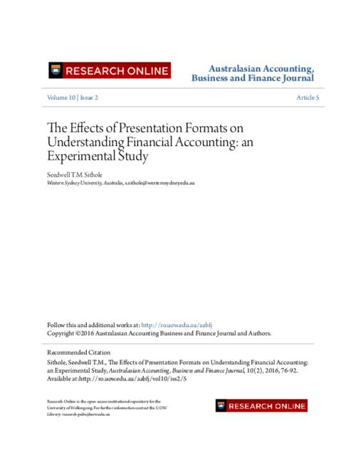 The effects of presentation formats on understanding