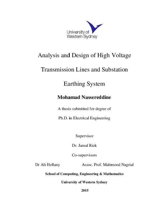 Analysis And Design Of High Voltage Transmission Lines And Substation Earthing System Western Sydney University Researchdirect