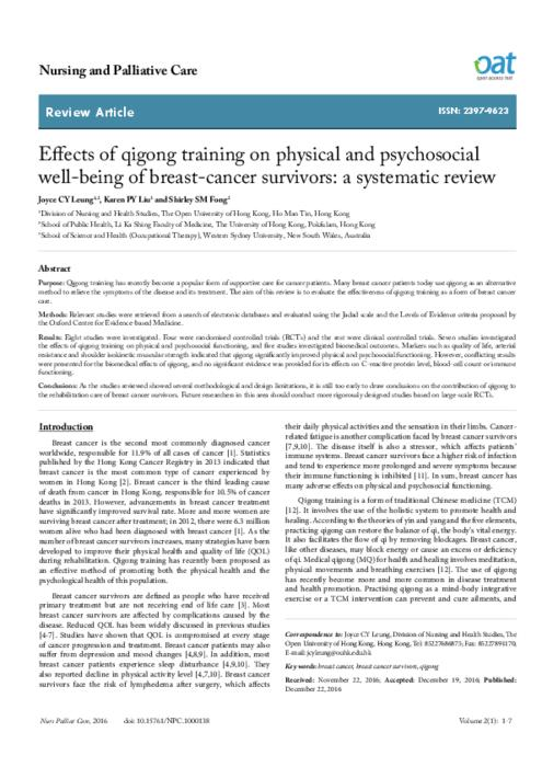Effects of qigong training on physical and psychosocial well