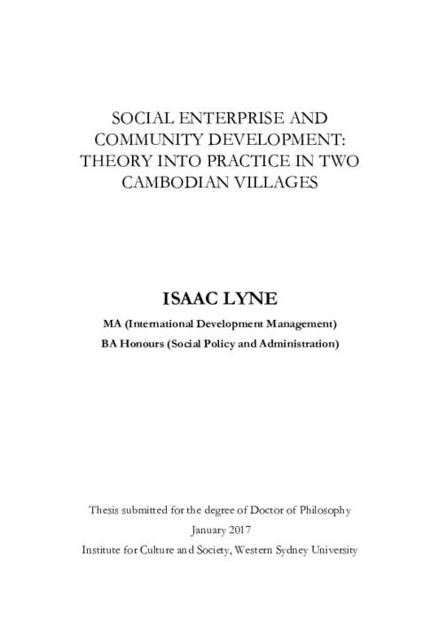 Social enterprise and community development : theory into