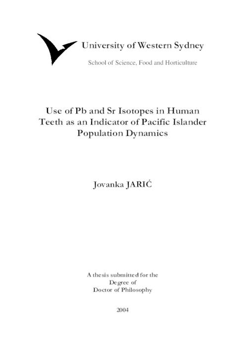 Use of Pb and Sr isotopes in human teeth as an indicator of