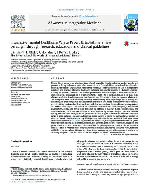 A New Paradigm Of Public Education >> Integrative Mental Healthcare White Paper Establishing A New