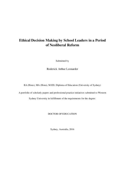 Ethical decision making by school leaders in a period of neoliberal
