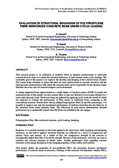 Evaluation of structural behaviour of polypropylene fibre reinforced