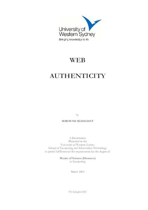 Web Authenticity