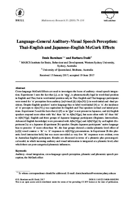 Language-general auditory-visual speech perception : Thai