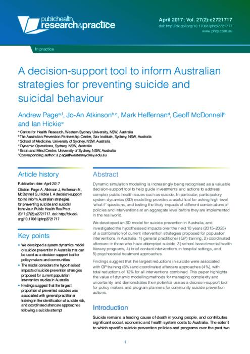 A decision-support tool to inform Australian strategies for