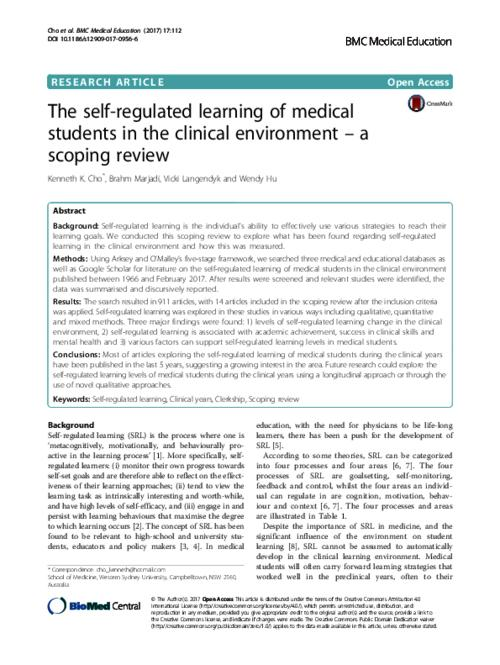 The Self Regulated Learning Of Medical Students In Clinical
