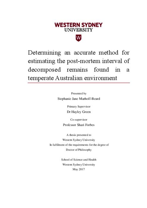 Determining an accurate method for estimating the post-mortem interval of decomposed remains found in a temperate Australian environment | Western Sydney University ResearchDirect