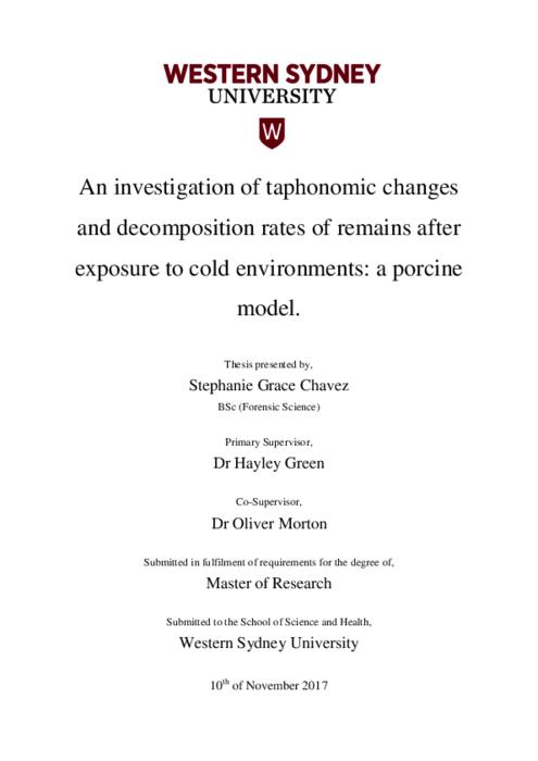 An Investigation Of Taphonomic Changes And Decomposition Rates