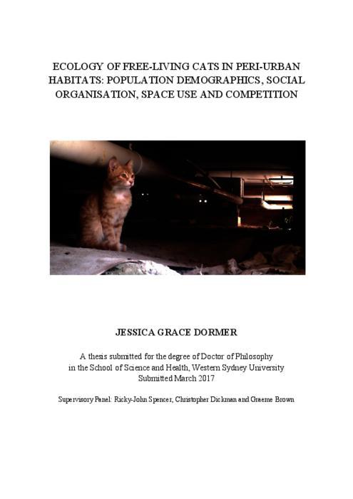 Ecology Of Free Living Cats In Peri Urban Habitats Population
