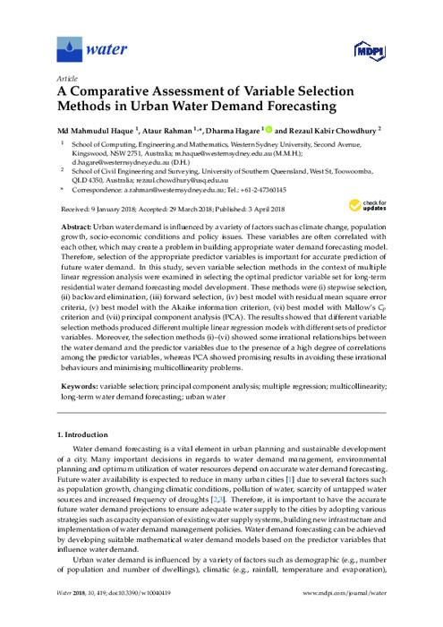 A comparative assessment of variable selection methods in urban