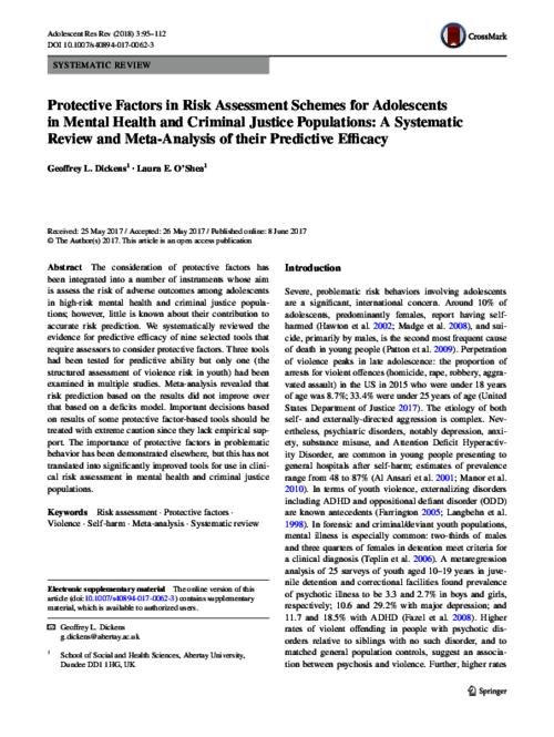 Protective Factors In Risk Assessment Schemes For Adolescents In Mental Health And Criminal Justice Populations A Systematic Review And Meta Analysis Of Their Predictive Efficacy Western Sydney University Researchdirect