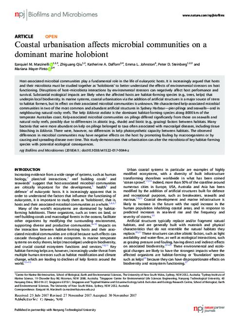 Coastal urbanisation affects microbial communities on a