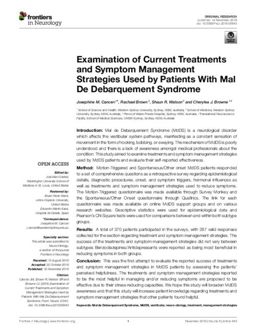 Examination of current treatments and symptom management strategies