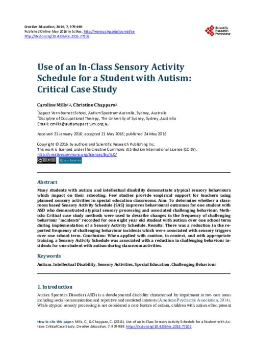 Social Creativity And Asd Challenging >> Use Of An In Class Sensory Activity Schedule For A Student With