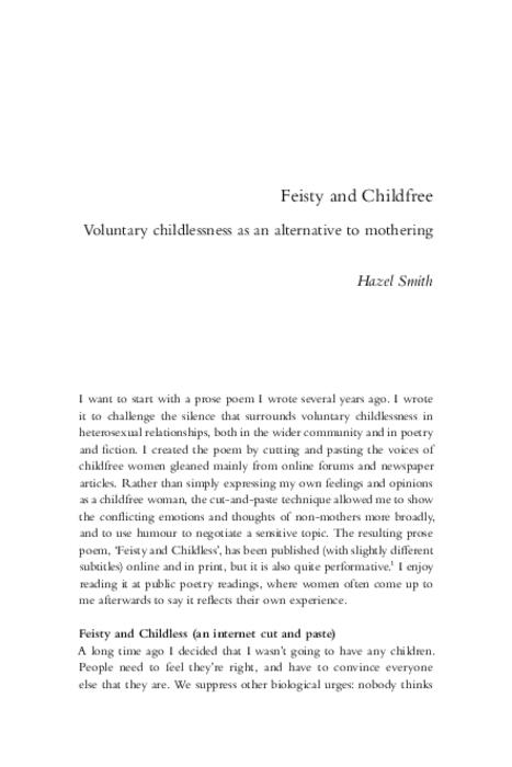 Feisty and childfree : voluntary childlessness as an