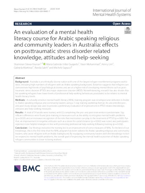 An Evaluation Of A Mental Health Literacy Course For Arabic Speaking Religious And Community Leaders In Australia Effects On Posttraumatic Stress Disorder Related Knowledge Attitudes And Help Seeking Western Sydney University