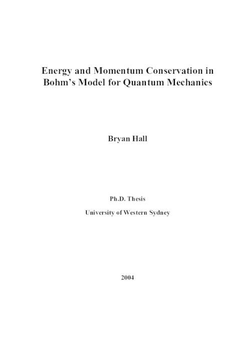 Energy and momentum conservation in Bohm's Model for quantum