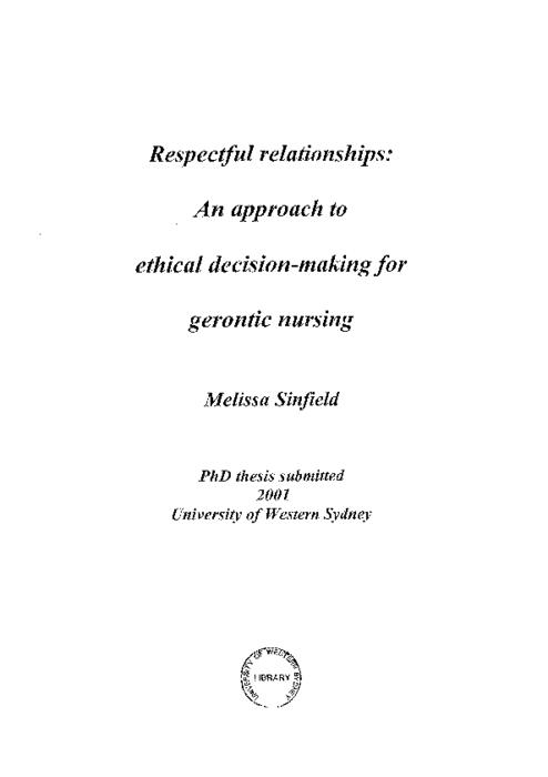 Respectful relationships : an approach to ethical decision