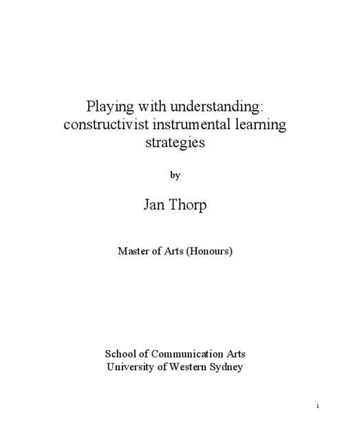 Playing With Understanding Constructivist Instrumental Learning