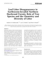 Leaf litter disappearance in earthworm-invaded northern hardwood forests : role of tree species and the chemistry and diversity of litter