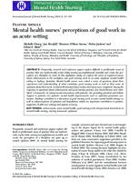 Mental health nurses' perceptions of good work in an acute setting