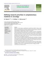 Defining research priorities in complementary medicine in oncology