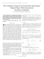 New stability criterion for fixed-point state-space digital filters with generalized overflow arithmetic