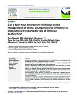 Can a four-hour interactive workshop on the management of dental emergencies be effective in improving self reported levels of clinician proficiency?