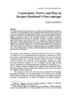 Constraints, poetry and play in Jacques Roubaud's Parc sauvage