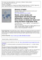 Racism, ethnic density and psychological well-being through adolescence : evidence from the Determinants of Adolescent Social Well-Being and Health longitudinal study
