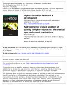 Addressing the wicked problem of quality in higher education : theoretical approaches and implications