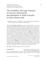 The availability and usage frequency of real time ultrasound by physiotherapists in South Australia : an observational study