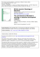 The contributions of Bernstein's sociology to education development research