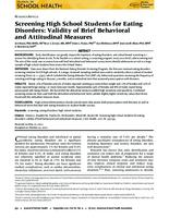 Screening high school students for eating disorders : validity of brief behavioral and attitudinal measures