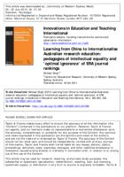 Learning from China to internationalise Australian research education : pedagogies of intellectual equality and 'optimal ignorance' of ERA journal rankings