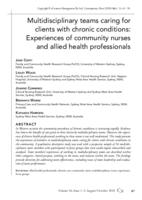Multidisciplinary teams caring for clients with chronic conditions : experiences of community nurses and allied health professionals