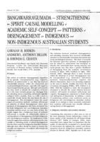 Bangawarra'gumada - strengthening the spirit : causal modelling of academic self-concept and patterns of disengagement for Indigenous and non-Indigenous Australian students