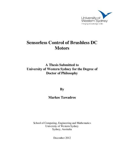 sensorless control of bldc motor thesis