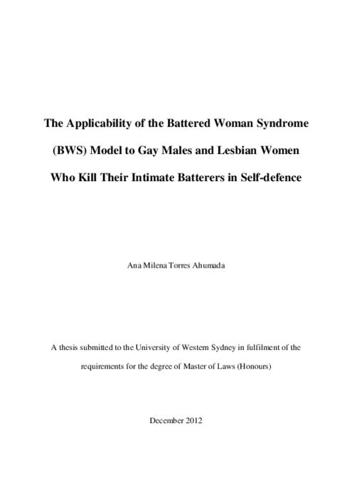 battered woman syndrome research paper How to write a research paper  or has the prosecutorial process become more harsh in its acceptance of the battered woman syndrome as  the battered woman.