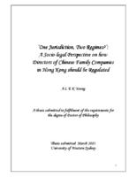 'One jurisdiction, two regimes?' : a socio-legal perspective on how directors of Chinese family companies in Hong Kong should be regulated