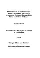 influence of environmental social controls on the capital investment decision-making of the firm : Australian evidence