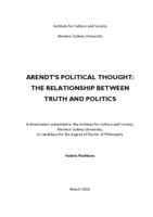 Arendt's political thought: the relationship between truth and politics