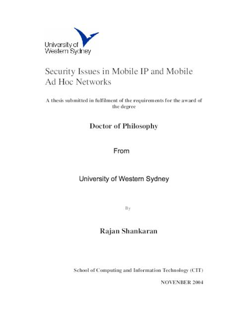 mobile ip thesis Phd thesis defense: distributed mobility management for a flat architecture in 5g mobile networks: solutions, analysis and experimental validation.