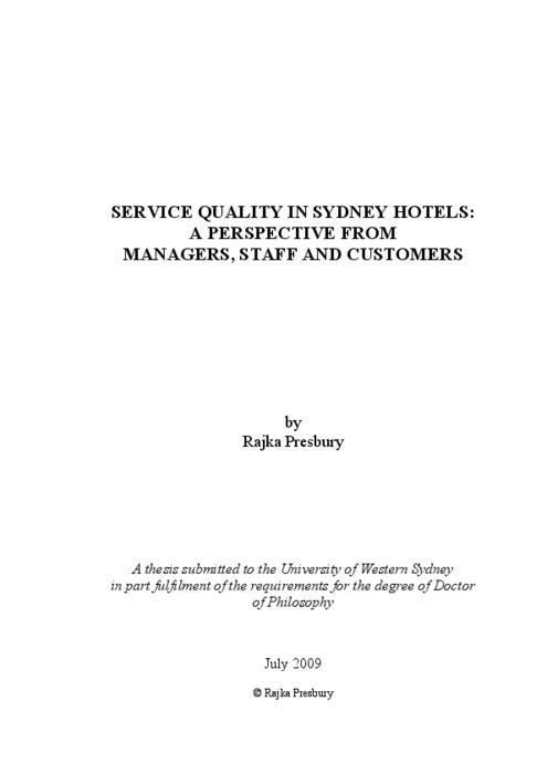 Dissertation service quality