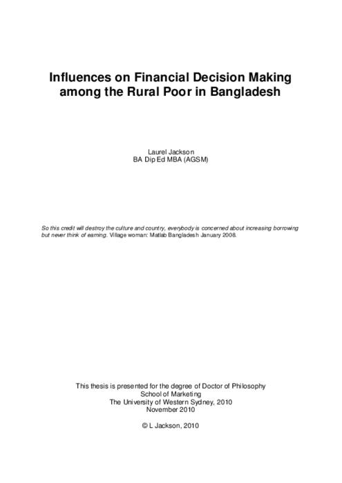 poor financial decision thesis Important for decision making accurate financial  poor reward systems and the lack of a public  public sector financial management reforms lagged.